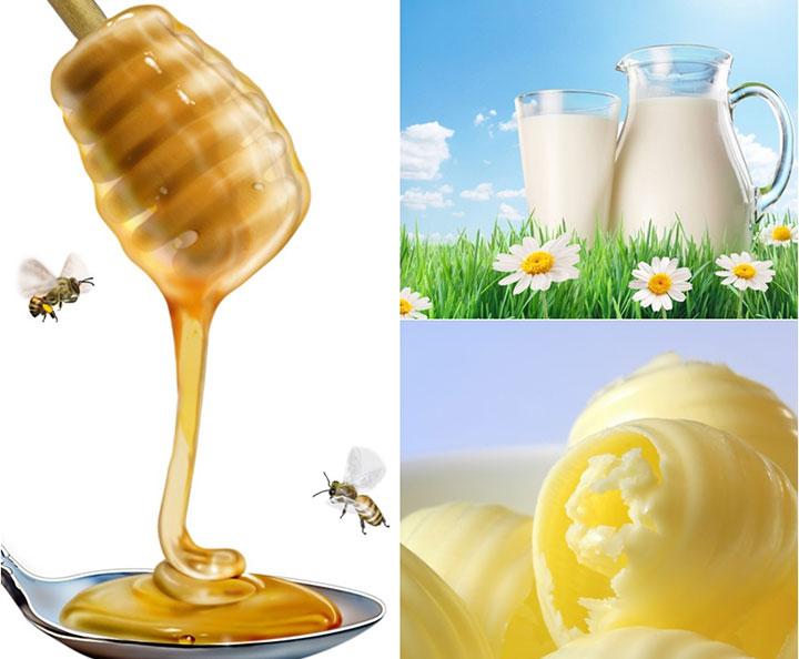 Молоко с медом и маслом