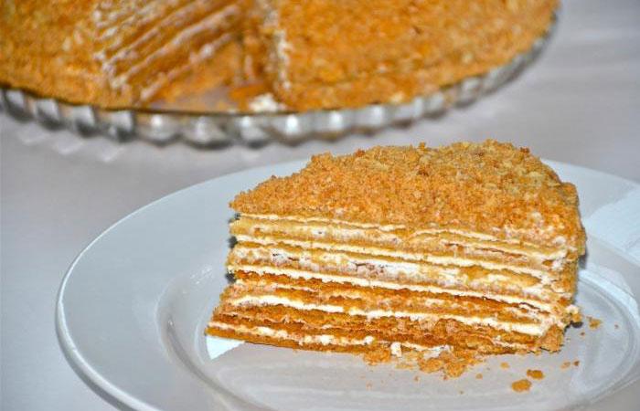 Рецепт медового торта со сметанным кремом пошагово с