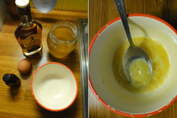 Маска с коняком, медом и желтком