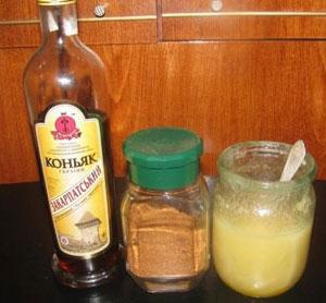 Маска с медом, коньяком и кофе