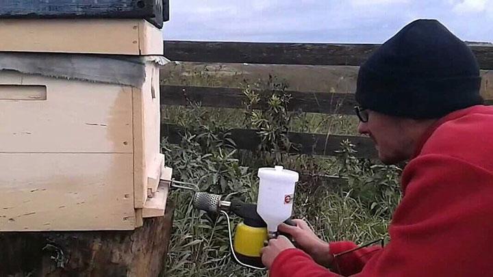 Использование дым-пушки для пчел