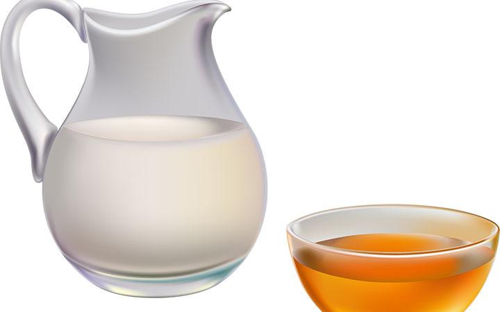 Вкусный мед и молоко